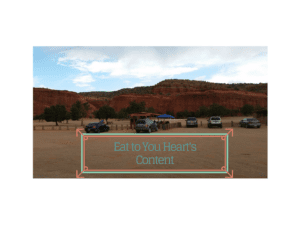 One of the food stands among the red rocks