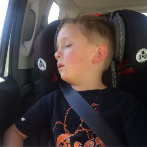 Lukas fell asleep in the car within 5 minutes