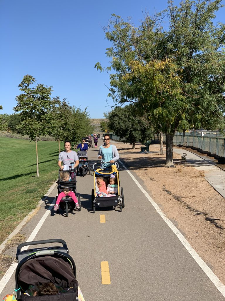Awesome mamas running for one of our bi-weekly runs with Fit Stroller Moms