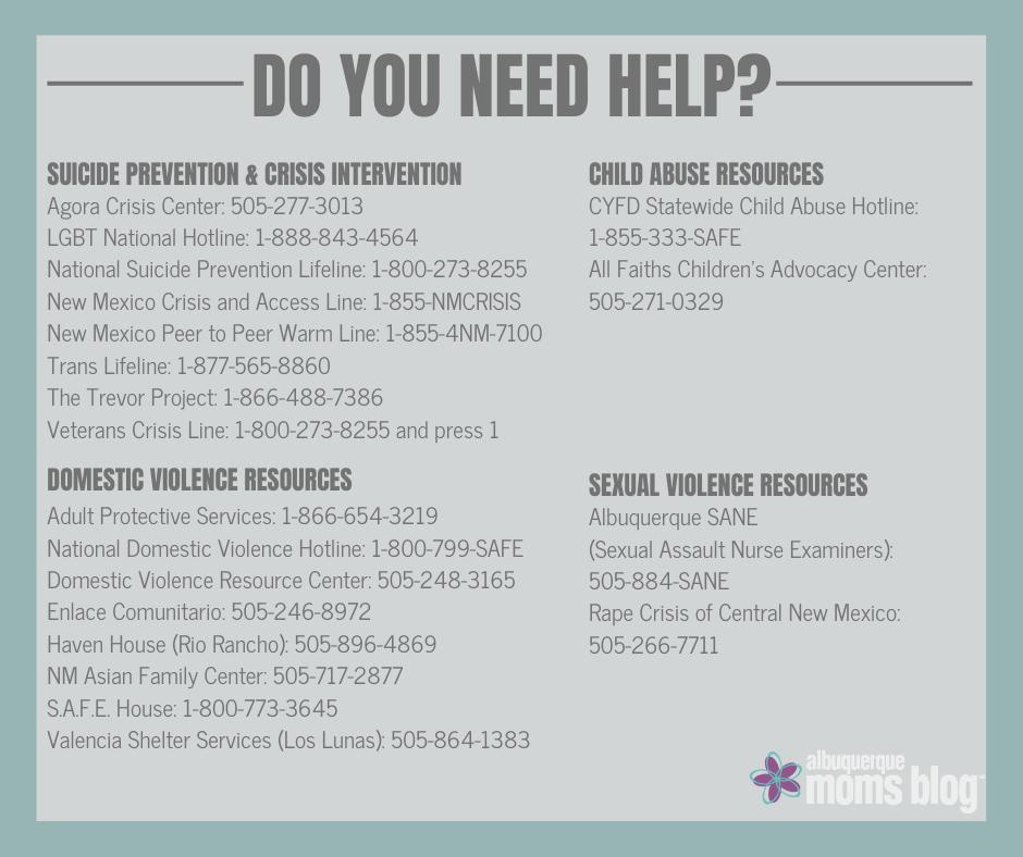 do you need help, Albuquerque crisis resources