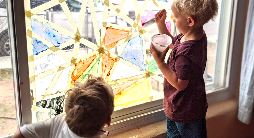 stained glass window, homemade chalk